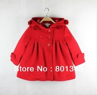1pcs/lot,Free shipping autumn winter New children wear,with hat design children coat,children wool coat.thickening,red color