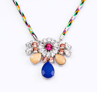 New Arrival 2 Colors Sennit Multicolor Water-drop Crystal Pendant Necklace For Women Christmas Gift L0207