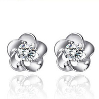 Plum blossom zircon Earrings Silver materail factory price retail