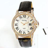 Hot 2013 Watches Women Fashion Diamonds PU Leather Wristwatches Diamonds Rome Colorful Free Shipping