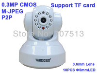 Pan/Tilt Rotate Motion Detection Network IP Camera support 32G TF MicroSD Card