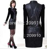 Spring and autumn plus size female long-sleeve velvet pencil pew basic  PU  Durable dress