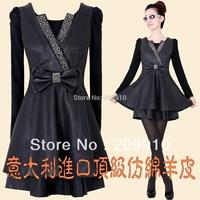 Spring and autumn female plus size slim artificial leather clothing PU long-sleeve dress  L XL XXL XXXL XXXXL