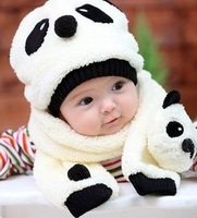 Baby Knitted Hat Autumn And Winter Yarn Set Of Child Panda Cap And Scarf  2013