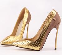 sapatos femininos de salto noiva Fashion single sexy pointed toe metal thin genuine leather ultra highheels shoe
