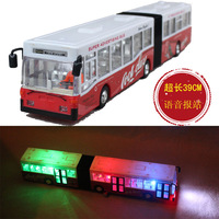 Ultra long double motor bus electric model of the publicvehicle acoustooptical toy cars bus