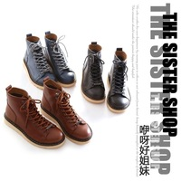 Fashion autumn 2013 PU medium cut flat heel round toe lacing martin boots casual shoes women's