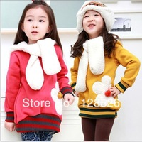 2013 Autumn Winter Kids Girls Hoodies With Scarf Long Sleeve Sweatshirts Children Warm Outerwear Thicken Christmas Red 1 pcs