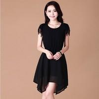 2013 summer women's female skirt long skirt irregular design chiffon one-piece dress slim skirt