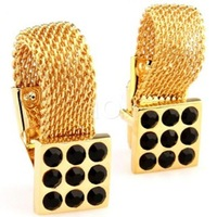 Luxury gold men's shirt cufflink with black cystal  AH5606