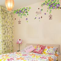 The third generation wall stickers tv background wall decoration wall stickers purple bird cage ay1916b