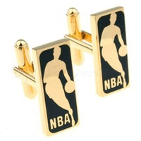 Sport cufflink!!Black basketball game logo men's shirt cufflink AT7139