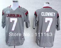 2013 New Style South Carolina Gamecocks #7 Jadeveon Clowney Battle Gray College Football Jersey