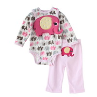 3sets/lot ,2013New Carter's Set, Baby Girls Lovely Elephant Model (Bib+ Jumpsuit+Pants)3pcs Suit,Free Shipping(In Stock)