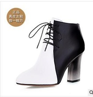 size34-39 2013 fashion women's autumn lace-up color block thick high-heeled lace-up britsh style ankle martin boots 182