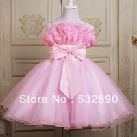Lovely Hot Sale a-line spaghetti straps pink organza flower girl dresses for wedding with flowers new Free shipping in store