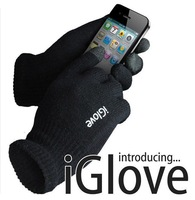 2013 New high quality touch screen gloves black Igloves for iphone 40G big size Dropping