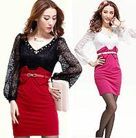 2013 V-neck diamond lace sexy princess slim patchwork slim hip lantern sleeve one-piece dress short skirt