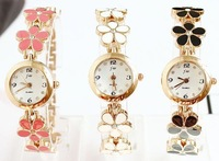 Watch Flower Charm Wholesale Fashion Style Black Pink White Casual Rose Gold Plated Bracelet Watches Rhinestone Free Shipping