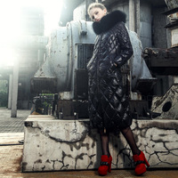 Blessedly2013 classic ultra long dimond plaid slim down coat female