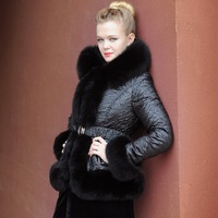 Blessedly luxury large fur collar slim thickening down coat female