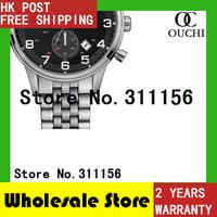 HK Post Free Shipping New fashion HB1512446 Black Dial Wrist Chronograph Mens full steel brand Sports Wristwatch Quartz Watches