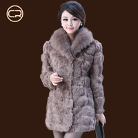 fur coat women 2013 winter women overcoat fox fur rabbit fur medium-long plus size genuine fur coat rabbit rex fur coat