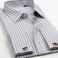 Male French cufflinks long-sleeve shirt male cufflinks long-sleeve shirt double layer cuff shirt