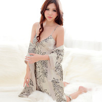 Free Shipping Night-robe Women  Men Summer Sexy sleepwear/Emulation Silk Condole Belt Pajamas/Silk Nightgown/Lovers Pajamas Sets