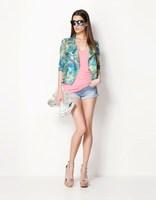 2013 Women Hitz European and American style tropical color printing long-sleeved chiffon blazer short coat jacket