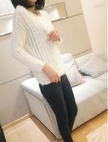 2014 autumn sweet princess big o-neck cutout women's mohair pullover sweater