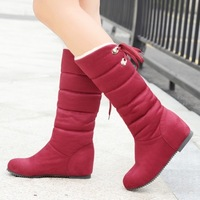 Plus Size 32- 43 Brand New Nubuck Leather Snow Boots For Women Casual Dress Winter Shoes Thick Warm Fur Inside Round Toe WB840