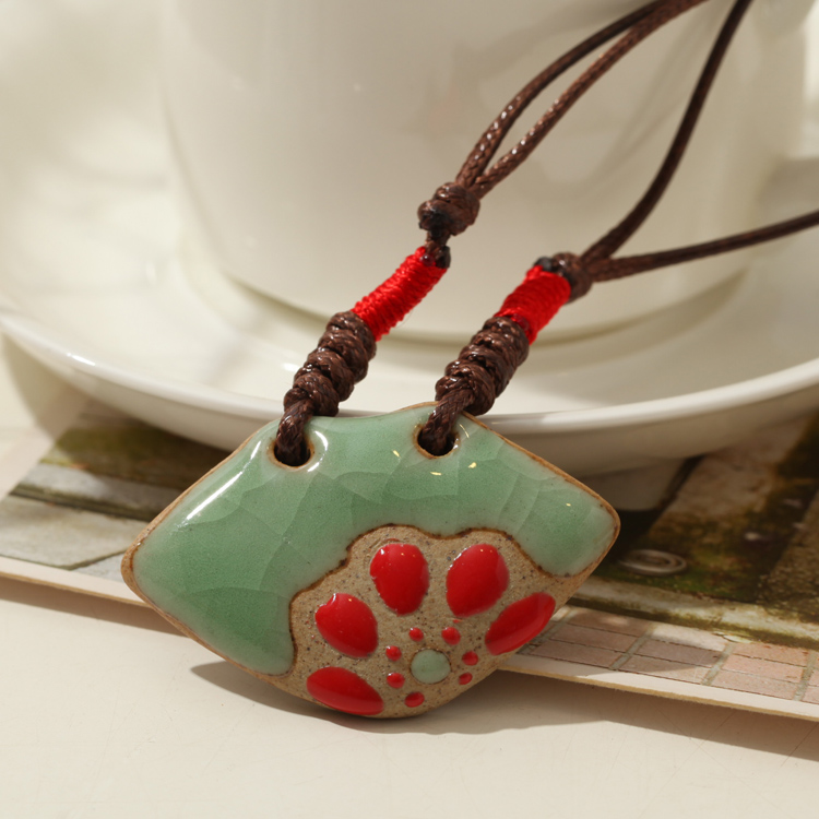 Ceramic Necklace Bohemian 2014 Fashion Vintage Accessories Wholesale Hand made New Jewelry National Wind Jingdezhen