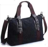 Men canvas travel bag new arrival male high quality canvas+genuine leather handbag multifunctional bag brand men messenger bag