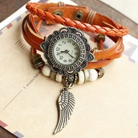 Hot wholesale dropship 2013 hot sale fashion flying wing flower case beads braided handmade quartz watch women leather Free