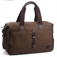 Men canvas travel bag high quality canvas+gunuine leather handbag shoulder bag vintage men messenger bag designer brand