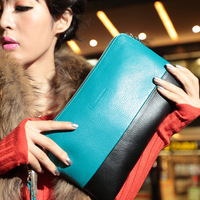 2013 clutch color block day clutch women's clutch genuine leather cross-body bag fashion small bag evening bag