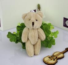 Free shipping H-8cm light brown Mini Stuffed Jointed teddy Bear,plush toy cartoon bouquet doll small gift 50pcs/lot(China (Mainland))