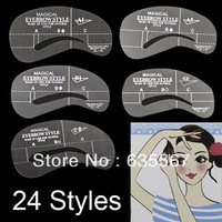 Popular 24 Styles Eyebrow Enhancer Liner Grooming Stencil Kit Template Make Up Shaping DIY Beauty Tools