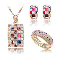 Wedding Jewelry!Luxury 18k Gold Plated Austrial Crystal Pendant Necklace Earrings Bangle Brand Fashion Rhinestone Jewelry Set