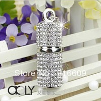 YY3 Free Shipping Hot Cute Crystal Silver Cylinder + Chain 4GB 8GB 16GB 32GB 64GB USB 2.0 Flash Memory Stick Drive Car/Pen/Thumb