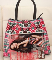 Fashion Canvas Shoulder bagfor autumn and winter Patchwork styles Shoulder Bags free ship 1027