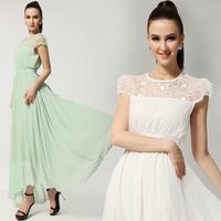 Fashion 2014 New In Women's Long Chiffon Dresses Elegant Lace Splicing Short Sleeves Slim Waist Female Maxi Dresses Plus Size