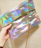 Top Fashion Laser Leather Handbag Silver color Message Bag Cute Hologram envelope bag caught