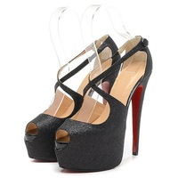 Sexy women pumps 16cm ultra peep toe high heels platform party wedding shoes red bottom pumps