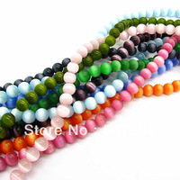 6mm 120pcs Fashion Mix Color Cat Eye Stone Ball Round Jewelry Loose Beads For Necklace&Bracelet Free Shipping HC144