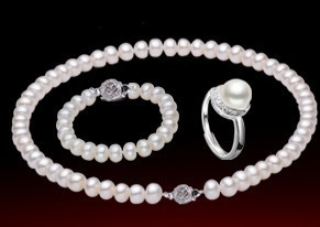 Free Shipping 9.0-10.0MM Button Round Fresh Water Pearl Jewelry Sets Pearl Gift Good Quality Wholesale Price(China (Mainland))