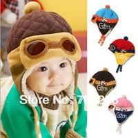 5pcs- Baby Boys Girls Winter Fleece pilot hat Baby earflaps kids beanie cap Infant winter warm caps Children Headwear 522
