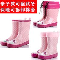 Child rain boots cat pink female child rain boots parent-child boots rainboots kt cat thermal boots