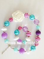 whilte rose flower 18mm solid beads chunky bubblegum kids necklace&bracelet 1set hot selling